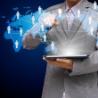 Business man hand point to virtual social network structure diagram — Stock Photo