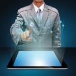 Business man hand point at virtual social network diagram — Stock Photo