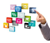 Businessman hand touching virtual cloud of colorful application — Stock Photo