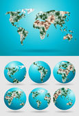 Vector world map polygonal modern template design — Stock Vector