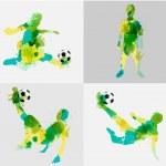 Vector soccer player kicks the ball with paint splatter design — Stock Vector