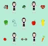 Vektor fitness kvinna och kost — Stockvektor