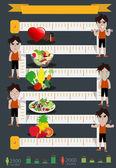 Homem de fitness de vetor e design gráfico de informação da dieta — Vetor de Stock