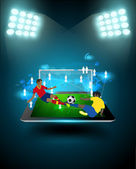 Football player striking the ball at the stadium — Stock Vector