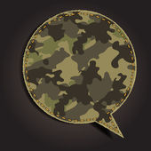 Speech bubble of camouflage fabric pattern shape — Stock Vector