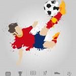 Soccer player kicks the ball with paint splatter design — Stock Vector