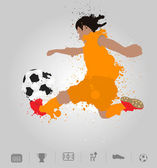 Soccer player kicks the ball with paint splatter design — Stock Vector