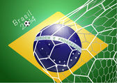Soccer ball in net with brazil flag — Stock Vector