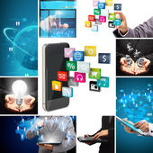 Social media business innovation technology concept design — Stock Photo