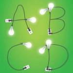 Creative light bulb idea alphabet design — Stock Vector #49984273