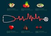 Steteskop ile kalp atışı — Stok Vektör