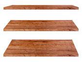 木製棚白い背景で隔離, — ストック写真