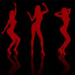 Silhouettes of dancing girls. — Stock Vector #37493647