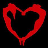 Silueta de hombres y mujeres en forma de corazón. — Vector de stock