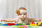Lovable baby with arms lateral LR — Stock Photo
