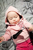 Baby with microphone — Foto Stock