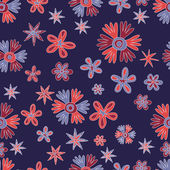 Hand drawn doodle flowers background. Seamless pattern. — Stock Vector