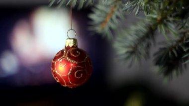 Red Christmas ball on christmas tree — Stock Video