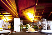 Romantic dinner in restaurant interior — ストック写真