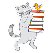 Cat and book — Stock Vector