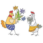 Chicken with flowers — Stock Vector