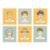 Faces BOYS 1-2 — Stock Vector