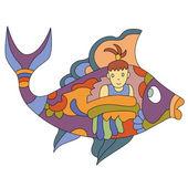 Fish-girl — ストックベクタ