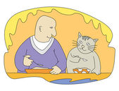 Man and cat — Stock Vector