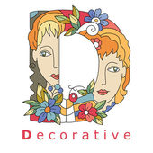 Letter D - decorative — Stock Vector