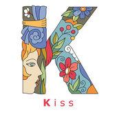 Letter K - kiss — Stock Vector