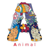 Letter A-animal — Stock Vector