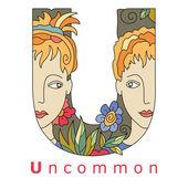 Letter U - uncommon — Stock Vector