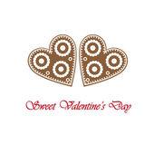 バレンタインの日にジンジャーブレッド心でエレガントなカード — ストックベクタ