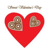 Элегантные карта с пряник сердца на день Валентина — Cтоковый вектор