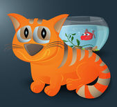 Cat and fish — Vector de stock
