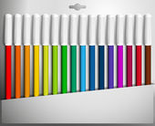 Vector illustration of a box of colored felt pens. — Stock Vector