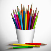 Vector illustration of colored pencils in the stand. — Stockvector