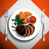 Baked duck with orange sauce and arugula on white plate. — Vecteur