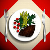 Grilled steak and French bean with cherry tomato and arugula on white plate. — Stockvektor