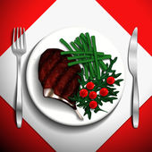 Grilled steak rib-eye and French bean with cherry tomato and arugula on white plate. — Stock Vector