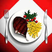 Grilled steak rib-eye and french fries with cherry tomato and arugula on white plate. — Stock Vector