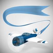 Vektor illustration av ett flygplan med banner på en grå bakgrund. utrymme för din text. — Stockvektor