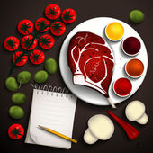 Raw steak rib-eye and vegetables for a delicious dish and a notebook for recipes. Place for your text. Vector illustration. — Stock Vector