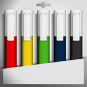Five colored felt pens in a box. Vector illustration. — Vecteur