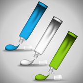 Three tubes of paint with drops. Vector illustration. Color change in a few clicks. — ストックベクタ
