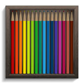 Vector illustration of colored pencils in a wooden box. — ストックベクタ