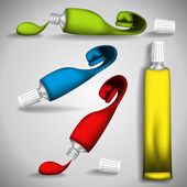 Set of tubes of paint with drops. Vector illustration. — Stock Vector