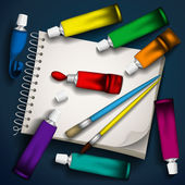 Vector illustration of tubes of paint, brushes and sketchbook. — Vettoriale Stock