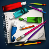 Vector illustration of tubes of paint, brushes, pencils and sketchbook. — Vettoriale Stock