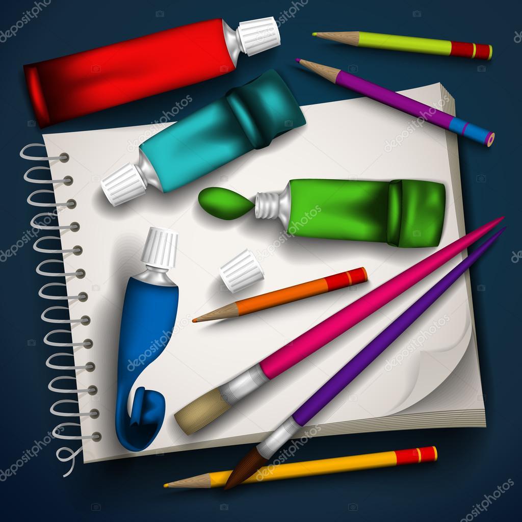 管的颜料, 画笔, 铅笔, 写生的矢量图